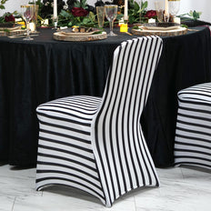 Black / White Striped Spandex Stretch Banquet Chair Cover