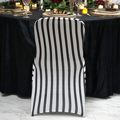 Black / White Striped Spandex Stretch Banquet Chair Cove
