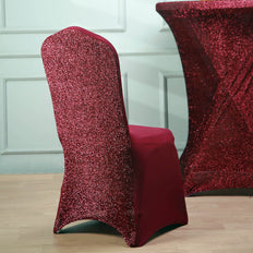 Burgundy Spandex Stretch Banquet Chair Cover With Metallic Glittering Back