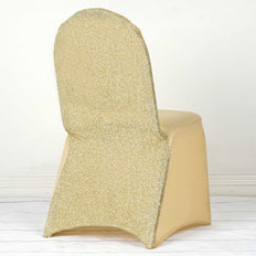 Champagne Spandex Stretch Banquet Chair Cover With Metallic Glittering Back