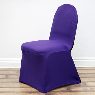 Purple Spandex Stretch Banquet Chair Cover With Metallic Glittering Back