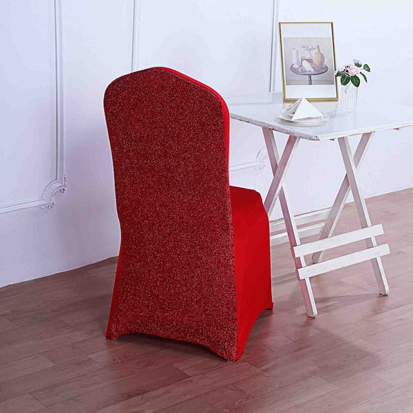 Red Spandex Stretch Banquet Chair Cover With Metallic Glittering Back