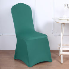 Turquoise Spandex Stretch Banquet Chair Cover With Metallic Glittering Back