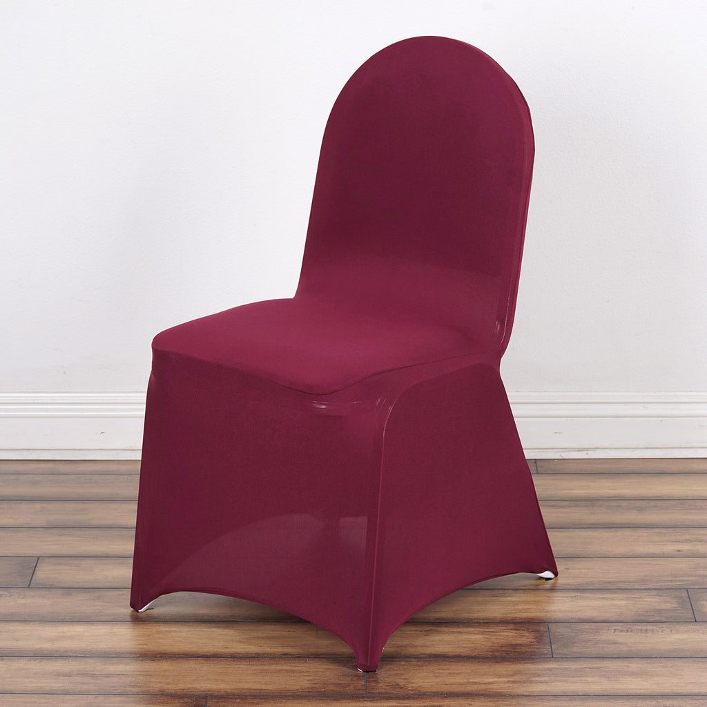 Remarkable 160Gsm Burgundy Stretch Spandex Banquet Chair Cover With Foot Pockets Spiritservingveterans Wood Chair Design Ideas Spiritservingveteransorg