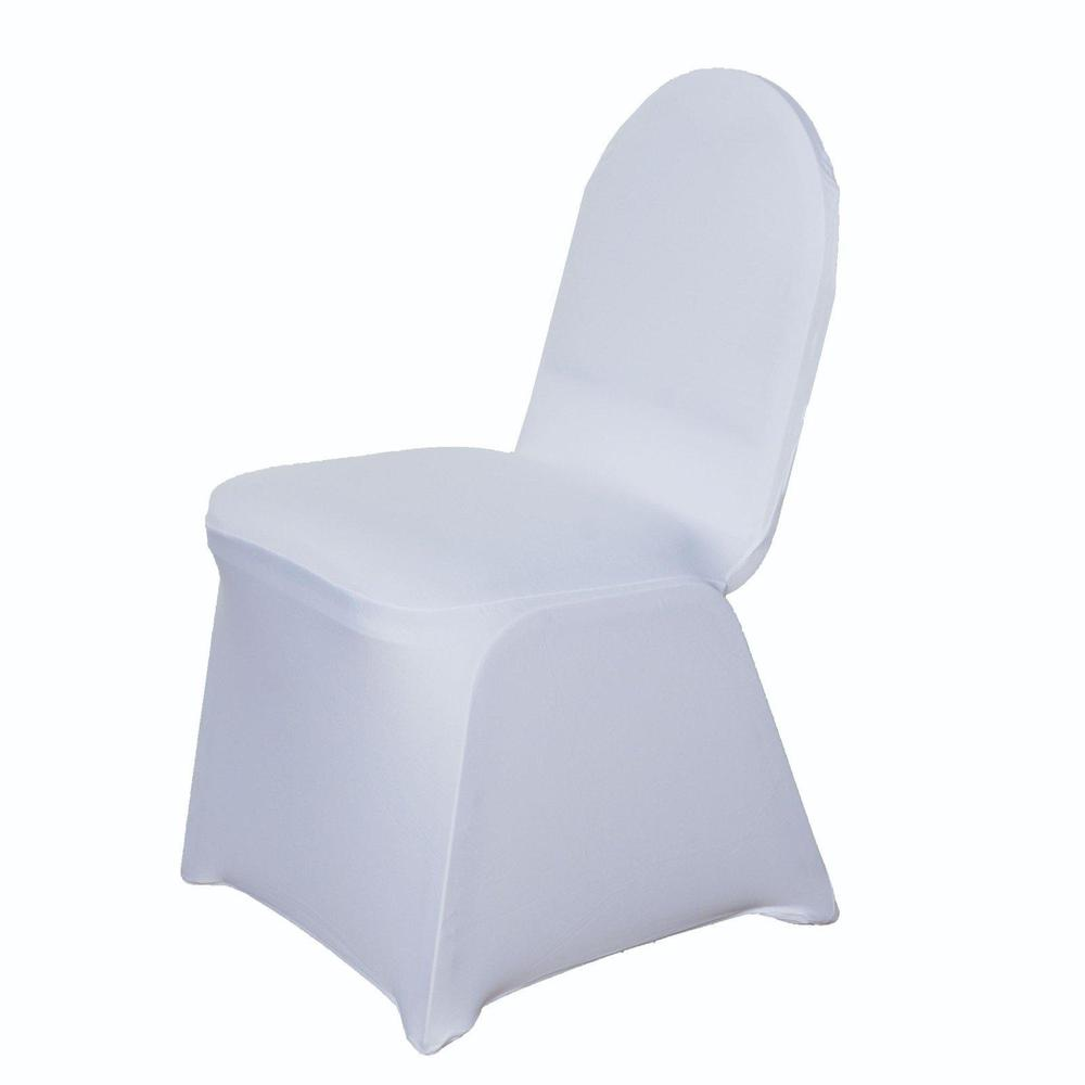 Strange 160 Gsm White Stretch Spandex Banquet Chair Cover With Foot Pockets Inzonedesignstudio Interior Chair Design Inzonedesignstudiocom