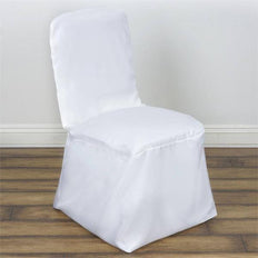 White Polyester Square Top Banquet Chair Covers
