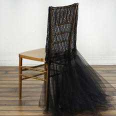 Black Bridal Wedding Party Lace And Tulle Tutu Chair Covers