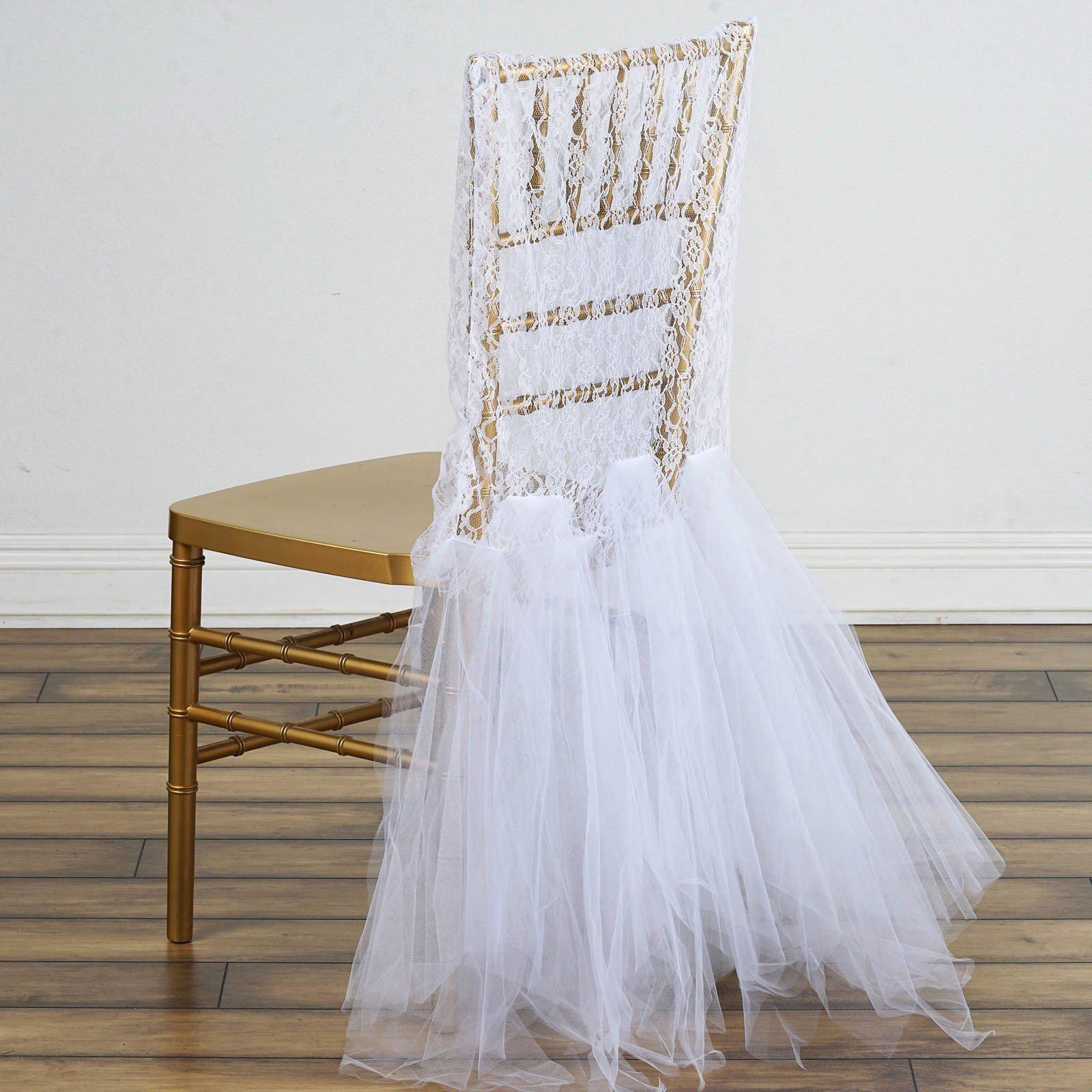 White Bridal Wedding Party Lace And Tulle Tutu Chair Covers ...