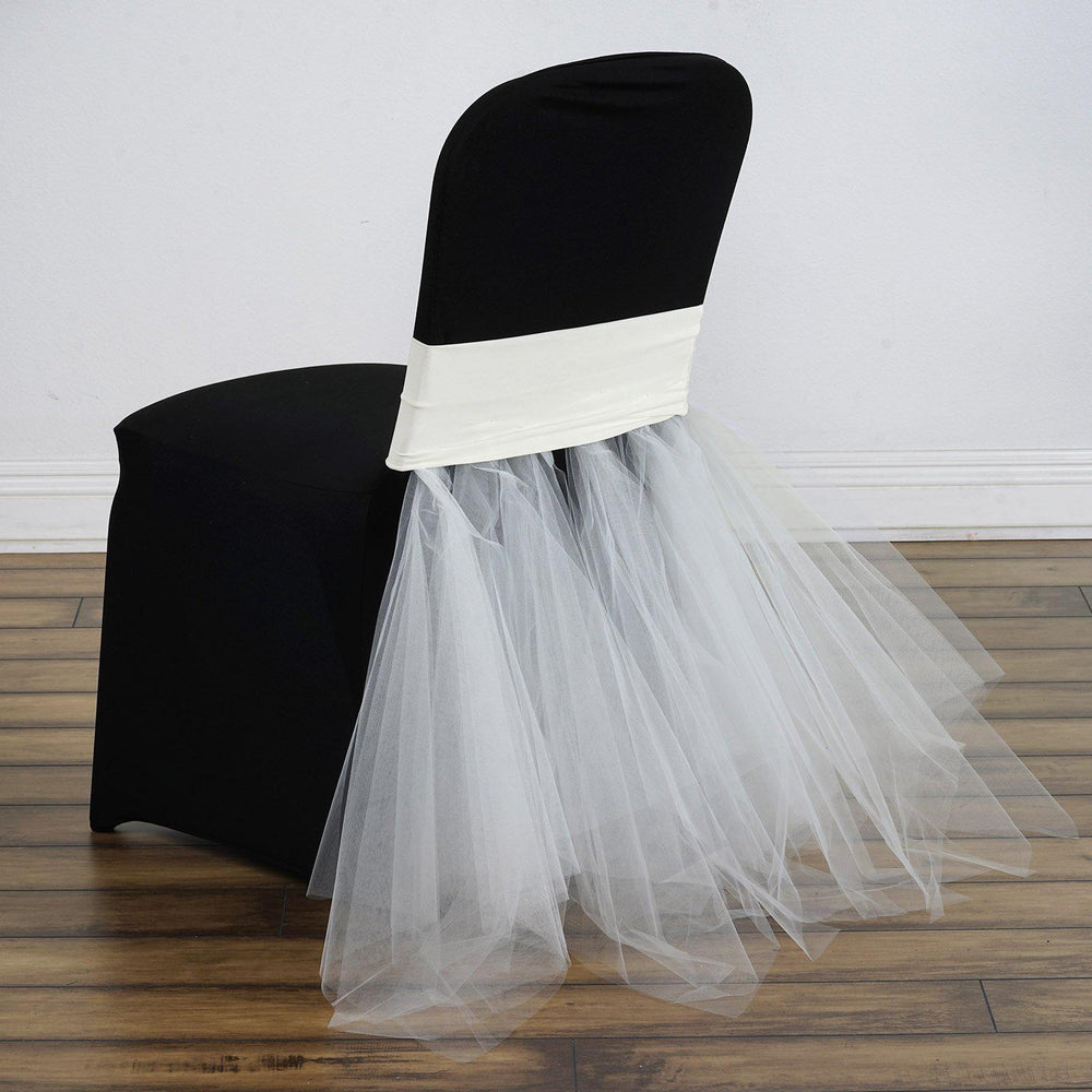 Ivory Bridal Wedding Party Spandex Tulle Tutu Chair Skirts ...