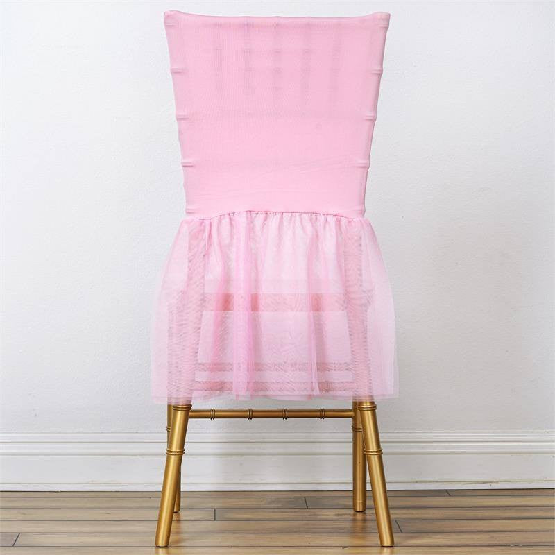 Elegant Wholesale Sheer Tulle Tutu Spandex Chair Skirt Cover For Wedding Birthday  Party Event Decoration   PINK