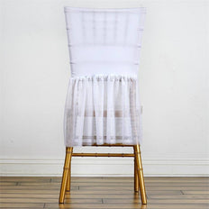 Wholesale Sheer Tulle Tutu Spandex Chair Skirt Cover for Wedding Birthday Party Event Decoration - WHITE