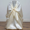 Ivory Universal Satin Chair Covers[overlay]Fits over Banquet, Folding and Chiavari Style Chairs
