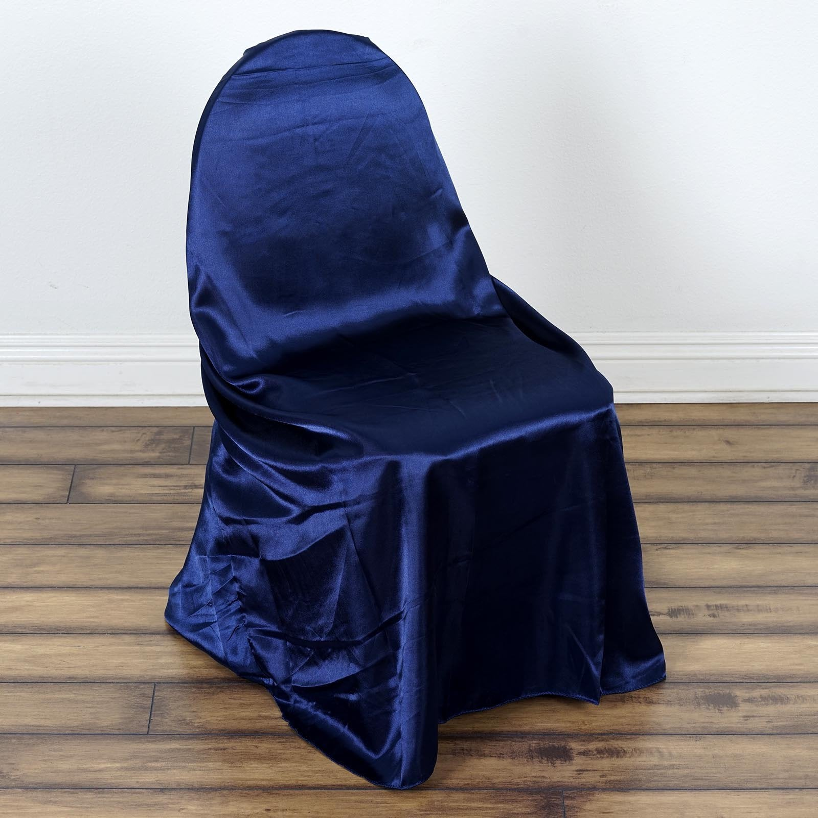 Navy Blue Universal Satin Chair Cover Tablecloths Factory