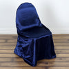 Navy Blue Universal Satin Chair Covers[overlay]Fits over Banquet, Folding and Chiavari Style Chairs