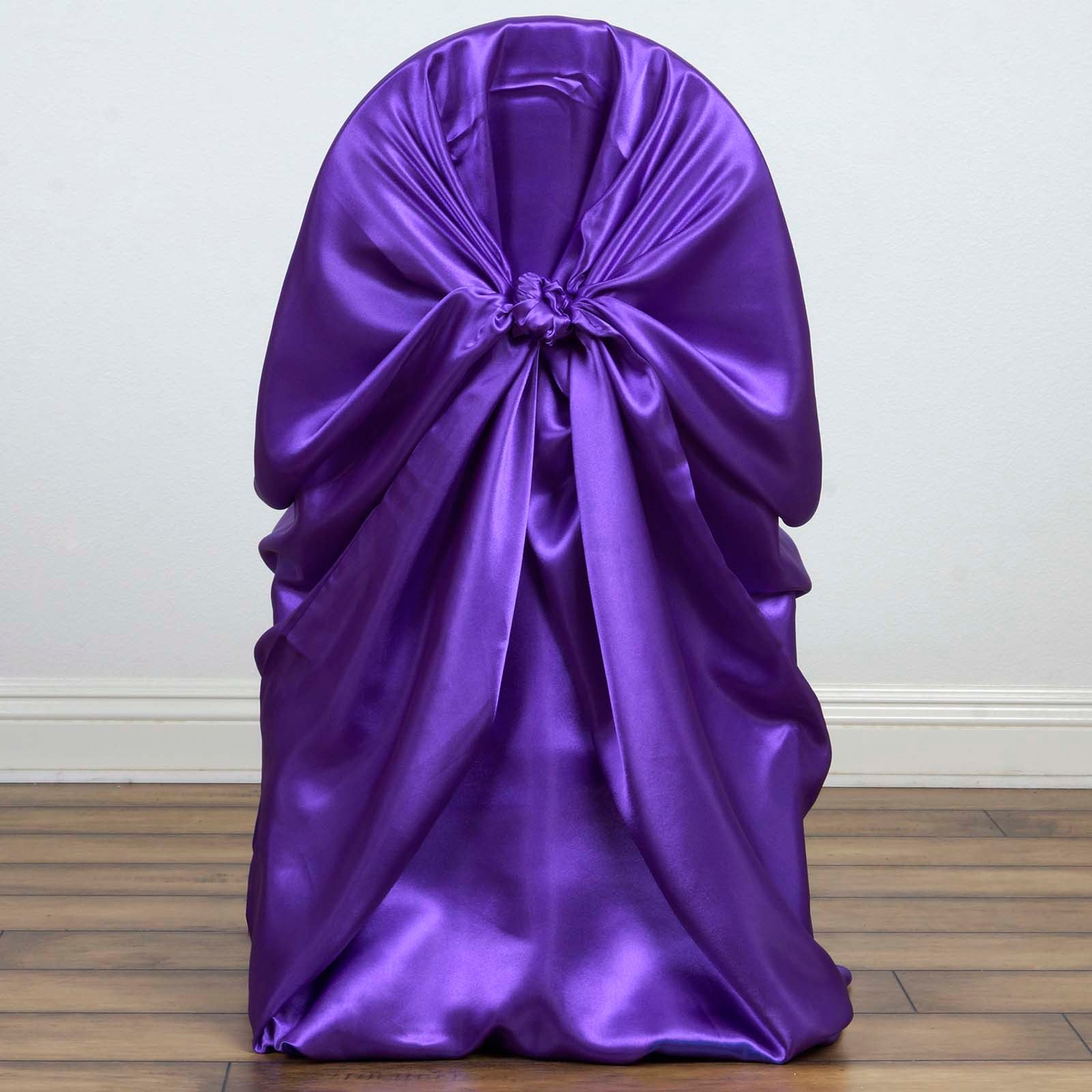 Purple Universal Satin Chair Covers Tablecloths Factory