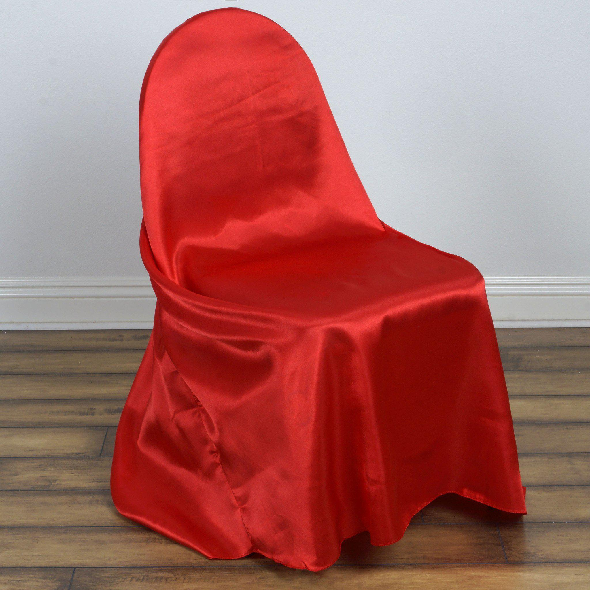 Red Universal Satin Chair Covers Tableclothsfactory