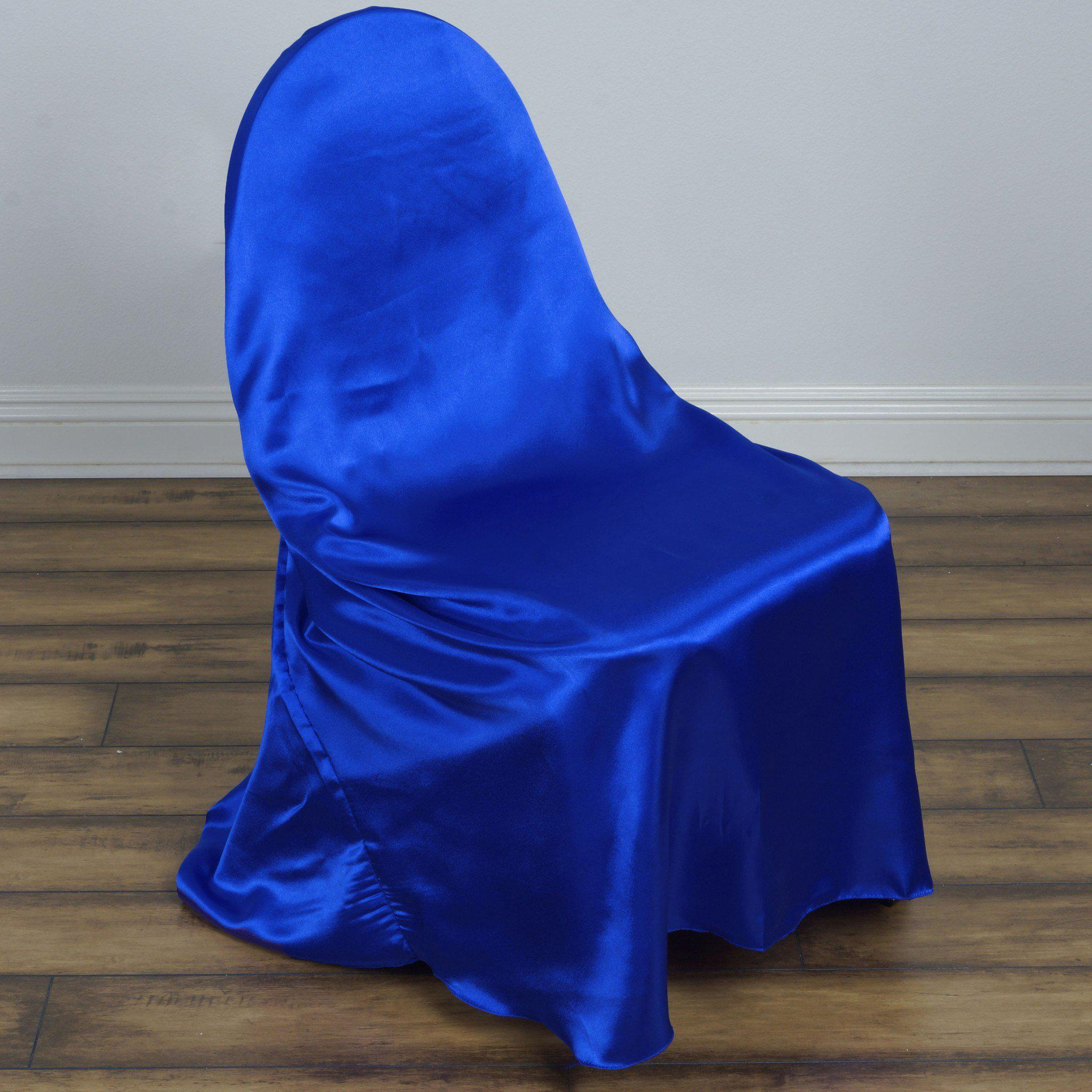 Genial Royal Blue Universal Satin Chair Cover ...
