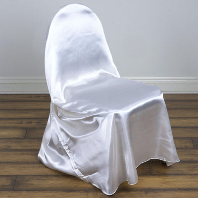 White Universal Satin Chair Covers