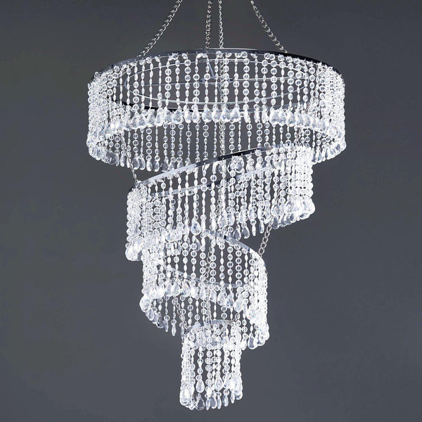 "4 Tier Crystal Pendant Lighting Diamond Chandelier - 18"" Diameter x 24"" Long"
