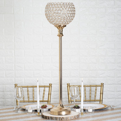 "37"" Tall Gold Crystal Acrylic Goblet Votive Candle Holder"
