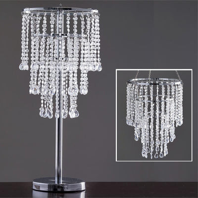 "Acrylic Glass Diamond Wedding Party Decorative Chandelier Centerpiece - 30"" Tall+Chandelier Stand"
