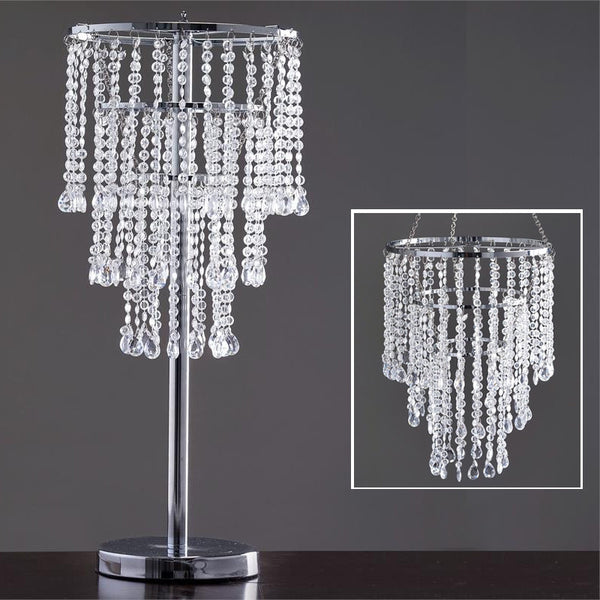 "30"" Acrylic Glass Diamond Pendant Chandelier + FREE Stand"