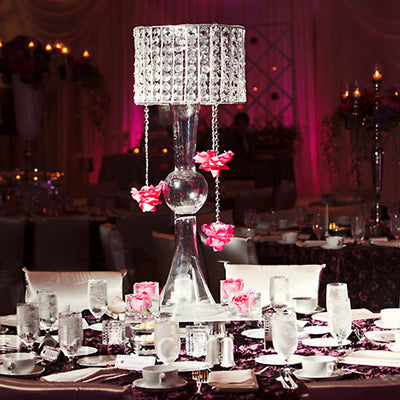 "Classic Wedding Party Crystal lighting Chandelier Clear -8.5"" Tall + 22"" Chandelier Stand"
