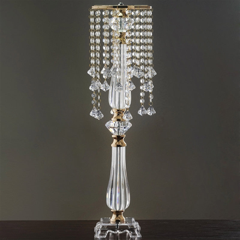 Flower Stand Diamond Pendant Crystal Chandelier Wedding Centerpiece Gold 28 Tall