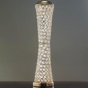 "Elegant Tall Hurricane Beaded Crystal Vase Wedding Centerpiece - 24"" Tall - Gold"