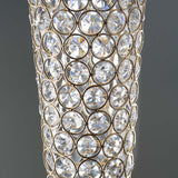 "24"" Gold Hurricane Crystal Beaded Floral Vase Centerpiece"