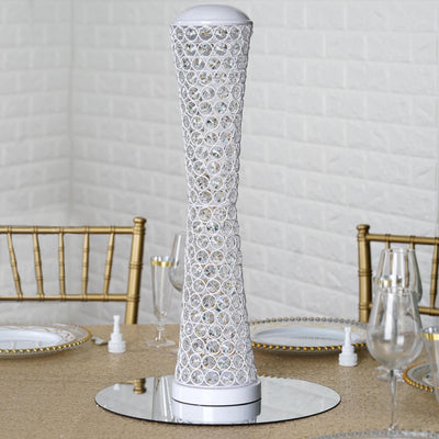 "24"" White Hurricane Crystal Beaded Floral Vase Centerpiece"