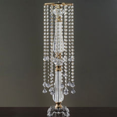 "19 Hanging Crystals with Large Teardrops Diamond Crystal Chandelier Wedding Centerpiece - Gold - 28"" tall"