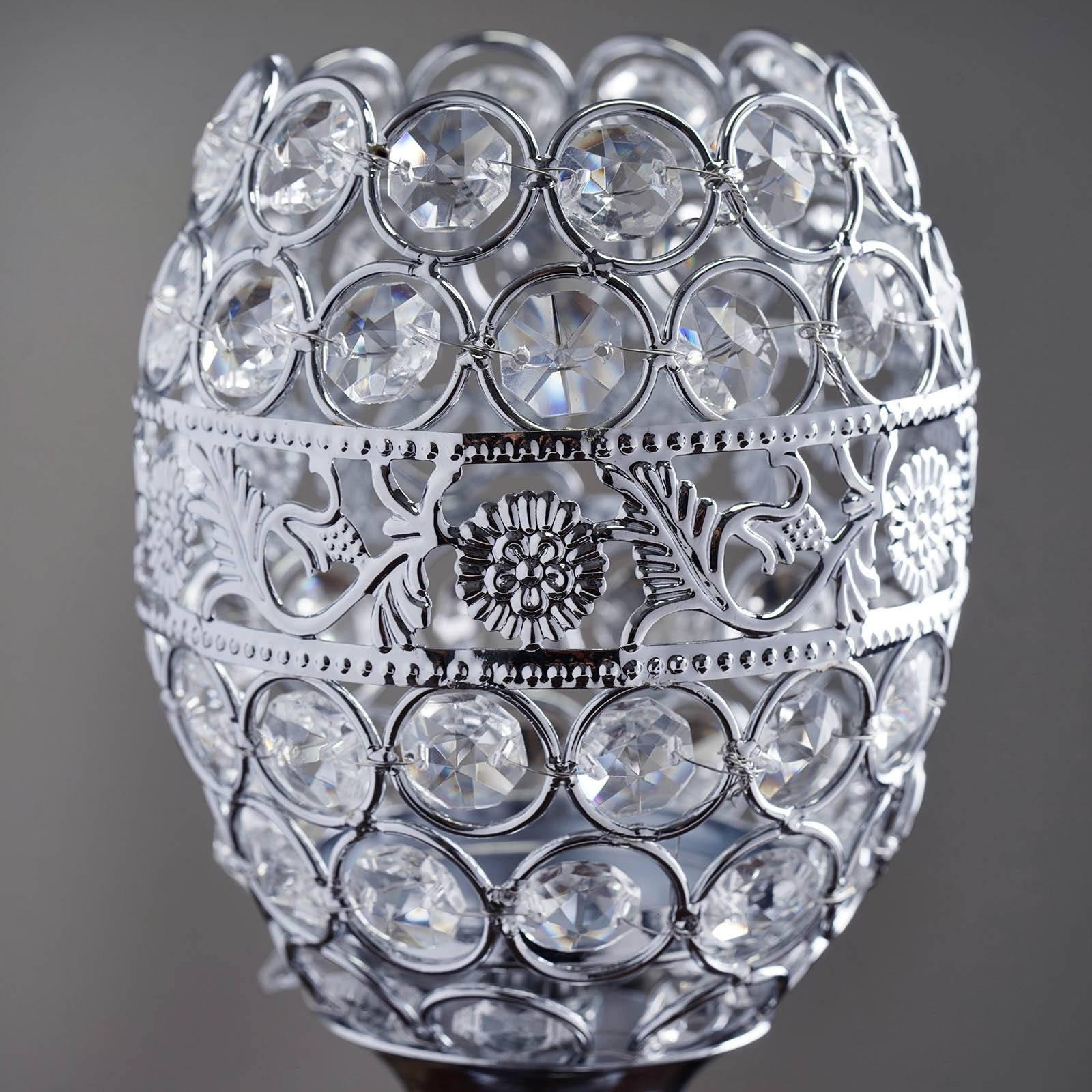 """14"""" Tall Crystal Beaded Candle Holder Goblet Votive Tealight"""