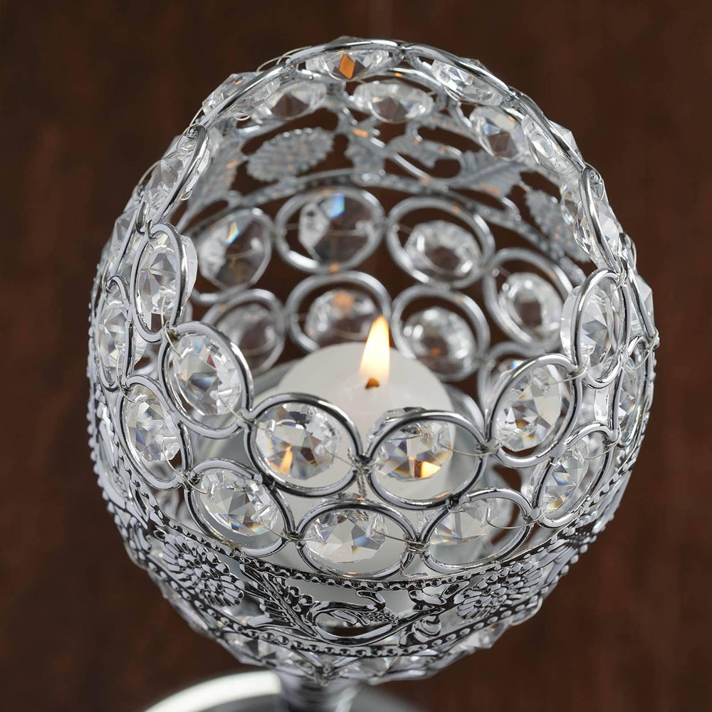 14 tall crystal beaded candle holder goblet votive tealight wedding 14 tall crystal beaded candle holder goblet votive tealight wedding chandelier centerpiece silver arubaitofo Gallery