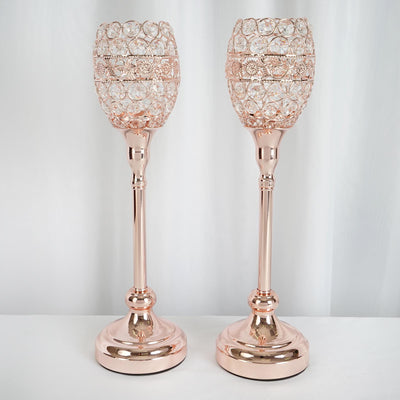 "2 Pack | 16"" Tall Rose Gold Crystal Acrylic Goblet Votive Candle Holder"