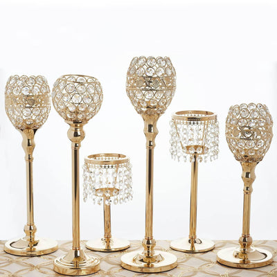 "16"" Tall Crystal Beaded Candle Holder Goblet Votive Tealight Wedding Chandelier Centerpiece - Gold - BUY ONE GET ONE FREE"