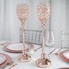 "2 Pack | 18"" Tall Rose Gold Crystal Acrylic Goblet Votive Candle Holder"