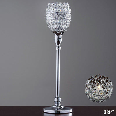 "18"" Tall Crystal Beaded Candle Holder Goblet Votive Tealight Wedding Chandelier Centerpiece - Silver - BUY ONE GET ONE FREE"