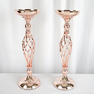 "2 Pack | 20"" Rose Gold Reversible Votive Candle Holder Flower Ball Stand"