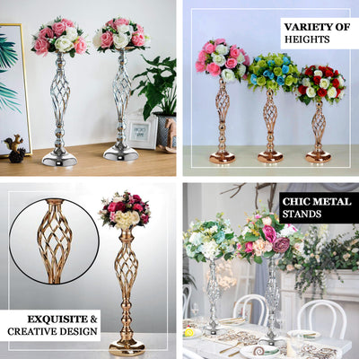"2 Pack | 26"" Silver Reversible Pillar Candle Holder Set Flower Ball Stand Metallic Vases Wholesale"