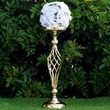 "2 Pack | 20"" Gold Reversible Votive Candle Holder Flower Ball Stand"