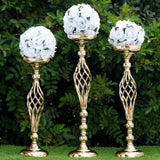 "2 Pack | 26"" Gold Reversible Pillar Candle Holders Flower Ball Stand"