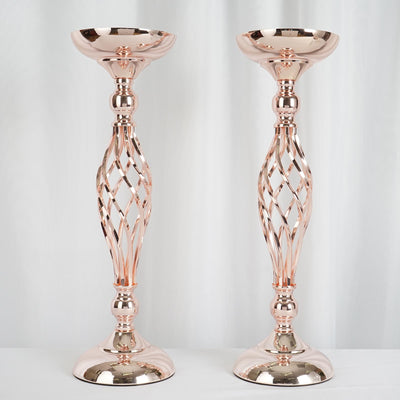 "2 Pack | 23"" Rose Gold Reversible Votive Candle Holder Flower Ball Stand"