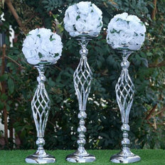 "2 Pack | 23"" Silver Reversible Votive Candle Holder Set Flower Ball Stand"