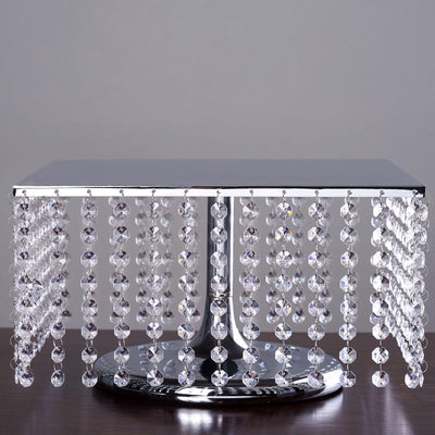 "14"" Silver Square Crystal Pendants Metal Chandelier Cake Stand"