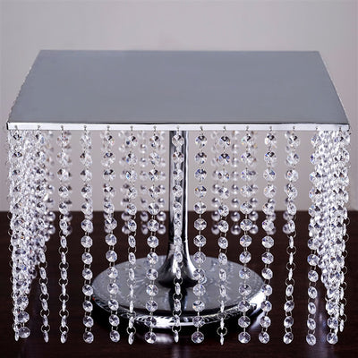 "16"" Bejeweled Silver Square Crystal Beaded Stainless Steel Chandelier Wedding Cake Stand"