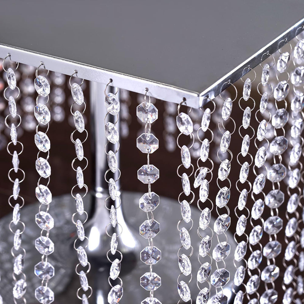 16 bejeweled silver square crystal beaded stainless steel 16 bejeweled silver square crystal beaded stainless steel chandelier wedding cake arubaitofo Images