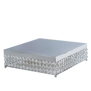 "14"" Bejeweled Silver Square Crystal Beaded Stainless Steel Chandelier Wedding Cake Stand"