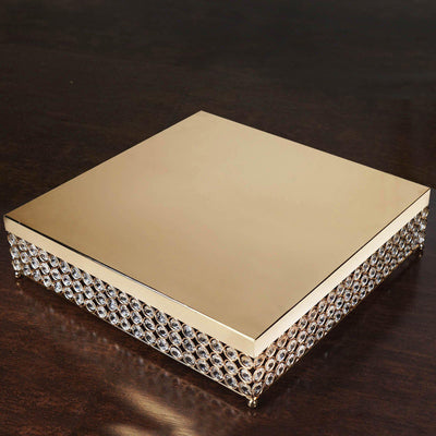 "16"" Gold Square Crystal Beaded Metal Cake Stand"