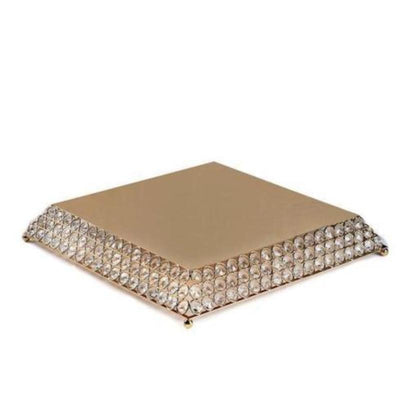 "15"" Gold Flat Crystal Beaded Metal Cake Stand"
